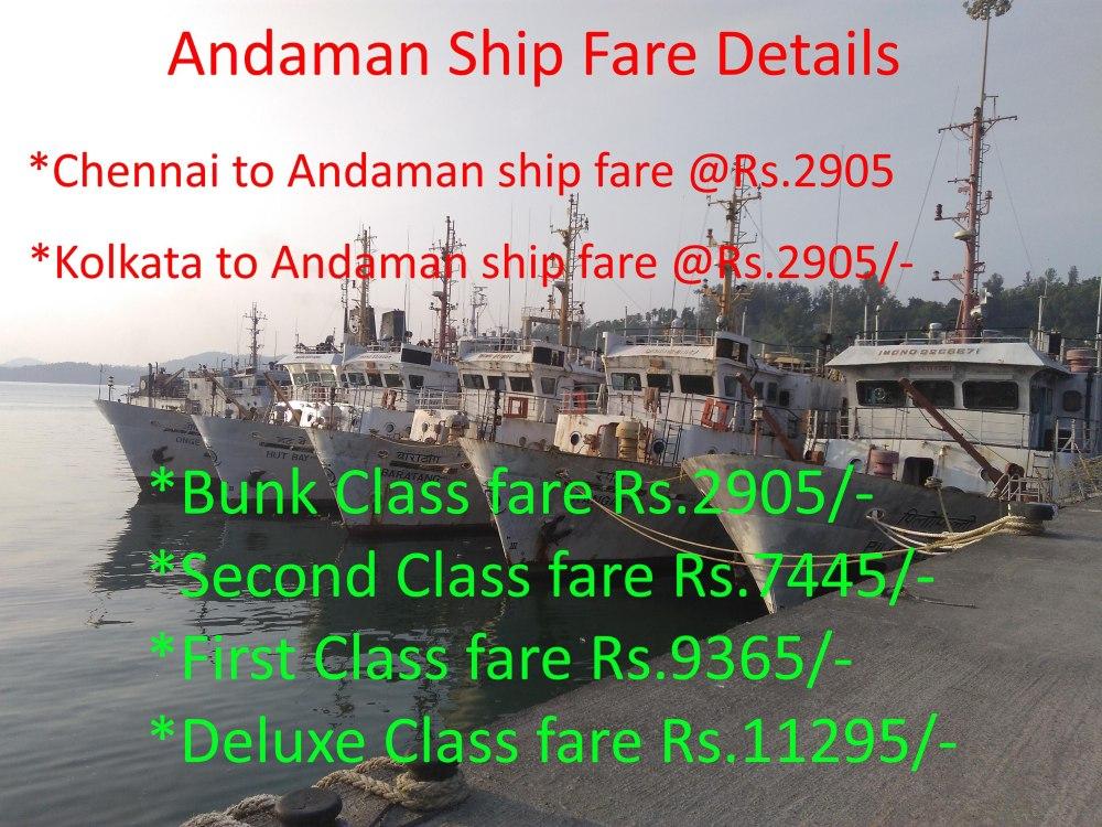 Andaman Ship fare from Mainland 2020