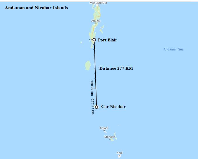 Port Blair to Car Nicobar distance